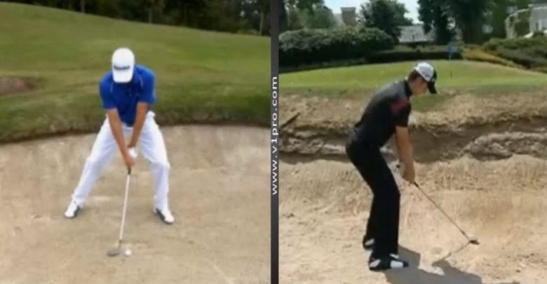 Photo of Glyn Meredith analyses a bunker shot and Golf swing from Justin Rose