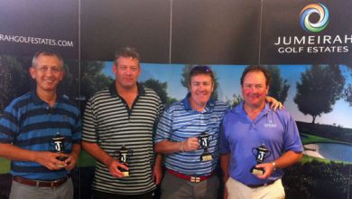 Photo of Jumeirah Golf Estates quartet win the April Members and Guests Event on the Earth Course