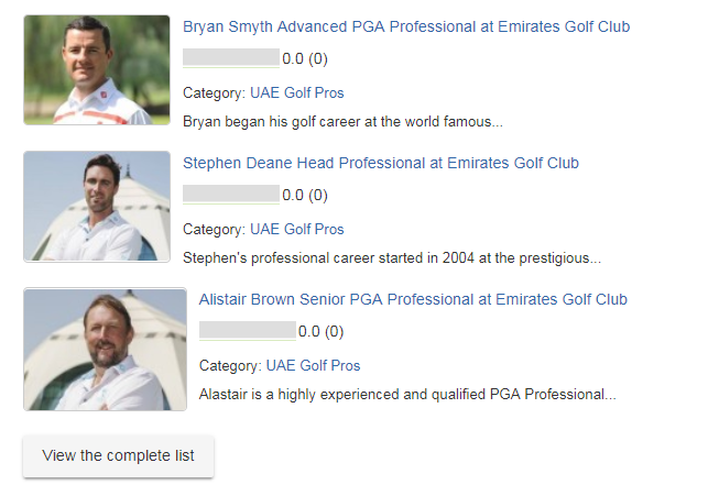 Emirates Golf Club pros